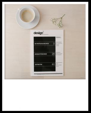 Magazin hinter den Kulissen des Designs. Für die Semesterarbeiten der Fächer Kunstgeschichte, Designtheorie und Ästhetik entstand ein Magazin mit klarem und übersichtlichem Design, welches die drei Themengebiete zusammenführt.